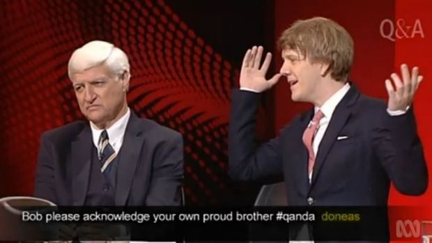 Politician Bob Katter and comedian Josh Thomas clash on ABC's <i>Q&A</i> program.
