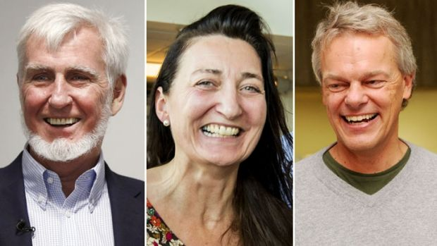 British-American researcher John O'Keefe, Norwegian neuroscientist Edvard Moser (right) and  his wife May-Britt Moser ...