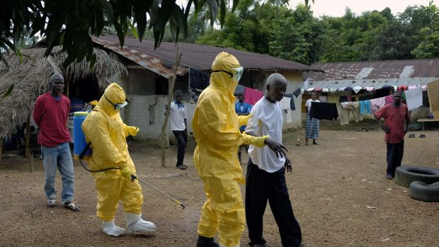 Yarkpawoto Paye, 84, is taken to an ambulance after showing signs of Ebola infection in the village of Freeman Reserve, ...