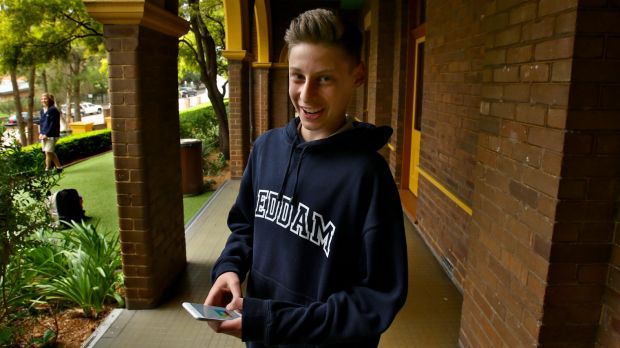 Teenage whiz kid Ben Pasternak at his school, Reddam House in Sydney. His Impossible Rush game is proving a hit.