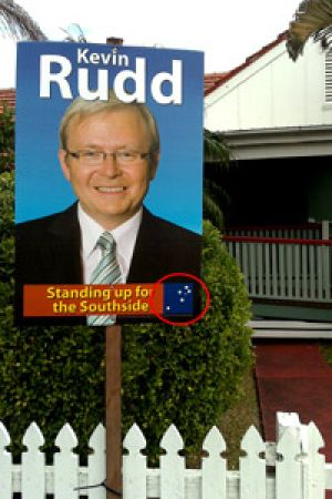 A Kevin Rudd campaign sign in the Brisbane suburb of Hawthorne today.
