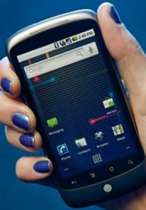 The Google Nexus One smartphone, seen here at its launch in Washington in January, uses the company's Android software.
