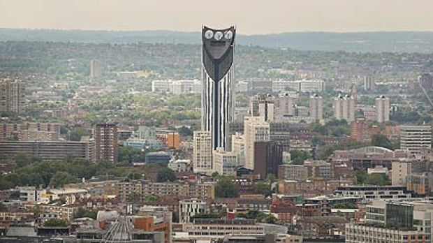 The wind-powered tower block known as the Razor at the Elephant and Castle in south London.