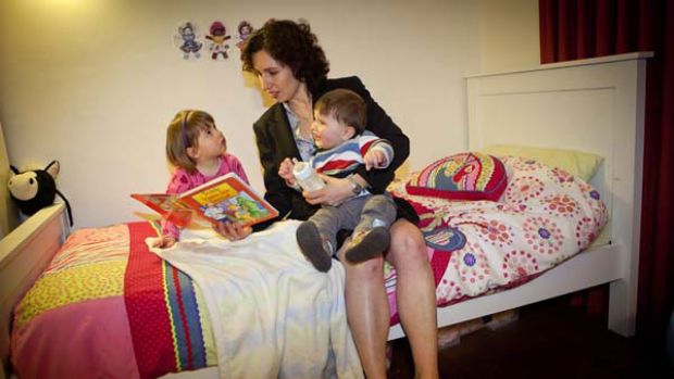 Working mum Nadia Odorico with her son Marcus, 11 months, and daughter Aurelia, 3. <i>Picture: Meredith O'Shea</i>