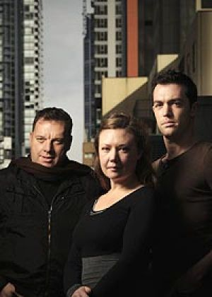 Director of <i>Dying City</i> Matt Scholten, left, with actors Zoe Ellerton-Ashley and Brad Williams.