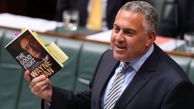 Treasurer Joe Hockey in question time with a copy of Wayne Swan's book.