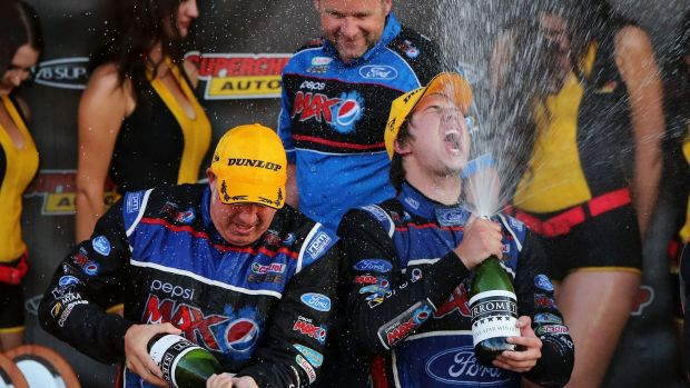 How sweet it is: Paul Morris and Chaz Mostert celebrate their epic Bathurst victory.