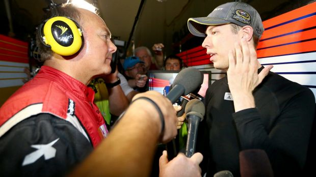 Brad Keselowski speaks to the media after the race and brawl.