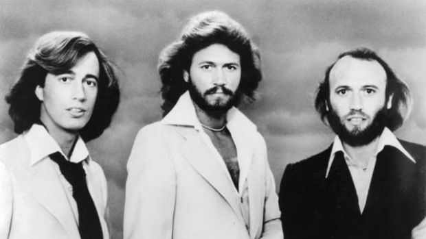 The Bee Gees ... Robin Gibb, Barry Gibb and Maurice Gibb.