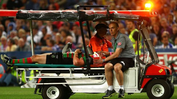 Dave Tyrrell of the Rabbitohs is stretchered from the field in the NRL grand final.