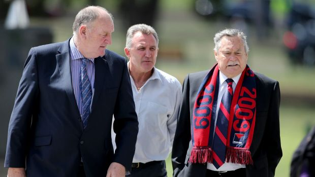 "Peter ""Crackers"" Keenan, Doug Hawkins and Ron Barassi at the MCG for the service."