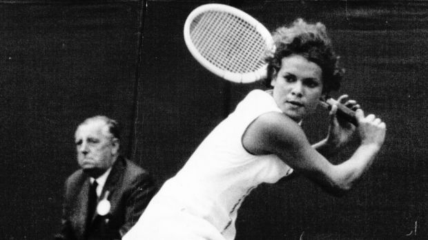 Evonne Goolagong (now Cawley), playing at Wimbledon in 1970.