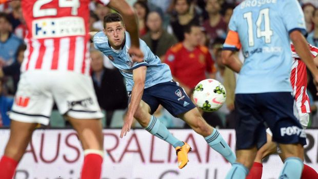 Shoot to thrill: Corey Gameiro fires another shot towards goal on Saturday night.