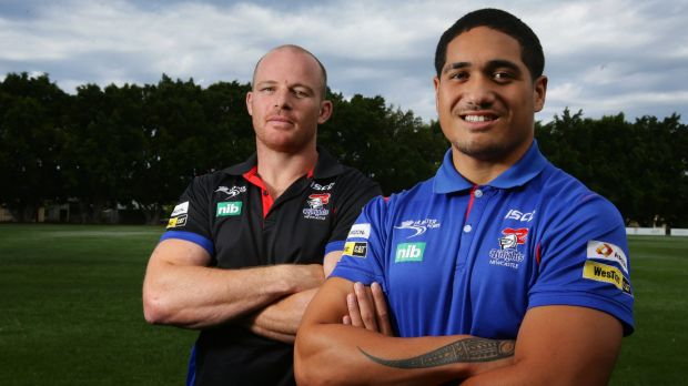 Young gun: Sione Mata'utia (right) and Beau Scott have been named in the Kangaroos squad.