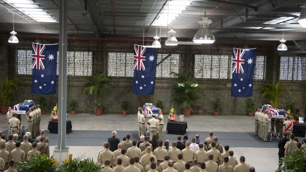 The fallen soldiers are farewelled.