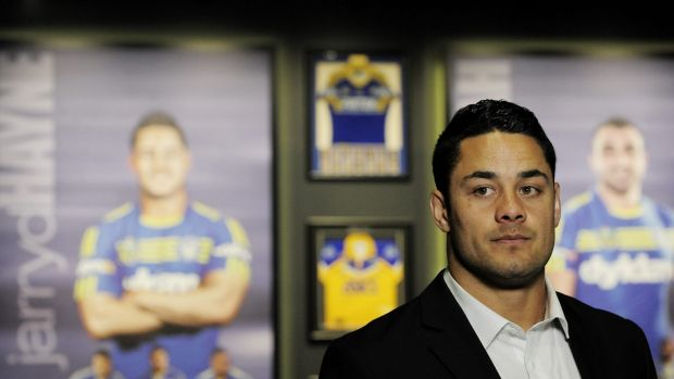 Heading to the States: Parramatta fullback Jarryd Hayne at the announcement of his switch to the NFL.