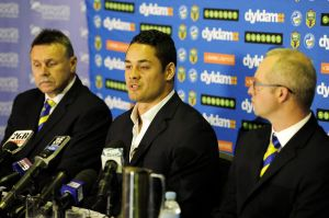Jarryd Hayne at the press conference on Wednesday.