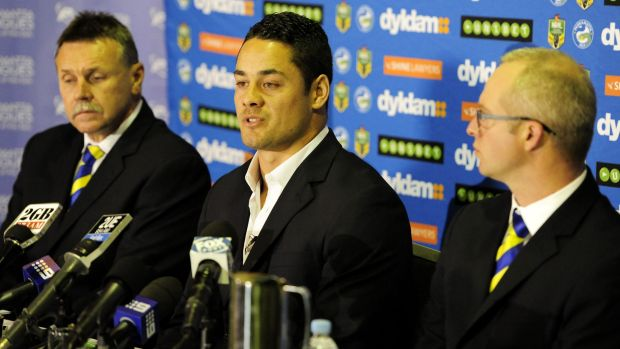Gamble: Jarryd Hayne at the press conference on Wednesday where he announced he will attempt to earn an NFL contract.