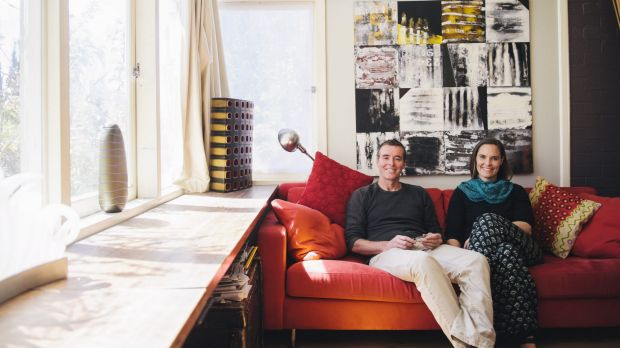 Home sweet home: There is large painting by Queanbeyan artist Claire Primrose behind the sofa. Curtis double-glazed the ...