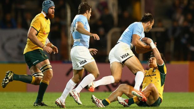 Matt Toomua cops a heavy bump during the Wallabies match against Argentina.