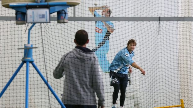 Back at the crease: Shane Watson in the nets at Blacktown on Wednesday.