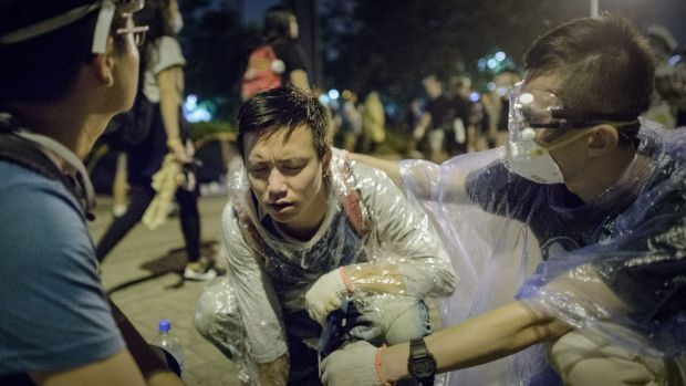 Police used pepper spray on some pro-democracy protesters.