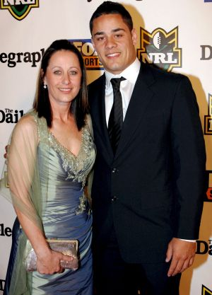 Long journey: Jarryd Hayne and his mother Jodie on the night he won his first Dally M Medal as player of the year in 2009.