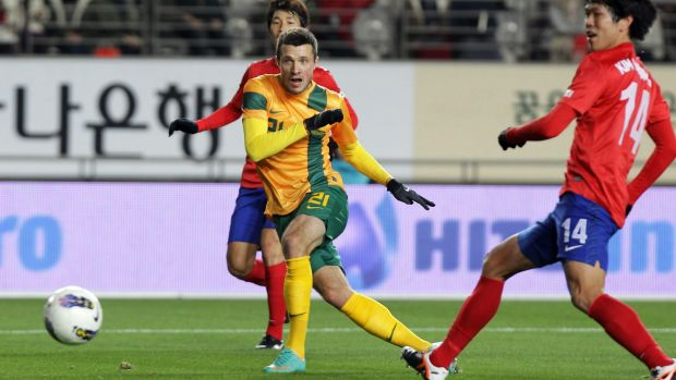New recruit: Nikita Rukavytsya in action for the Socceroos back in 2012.