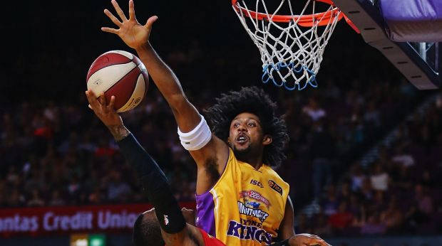 All-round talent: Sydney Kings import Josh Childress goes up for a block against Wollongong earlier this season.
