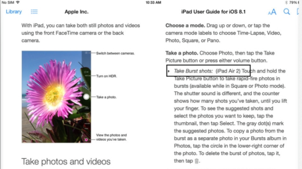 Further screens reveal the iPad Air 2 can take images in burst mode.
