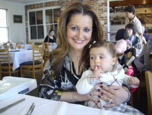 Sinodinos's wife, Elizabeth, with their daughter.