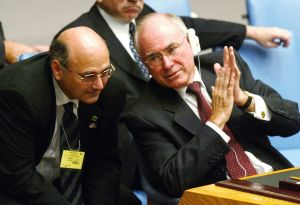 Art of politics: Sinodinos with John Howard at the UN in 2002.