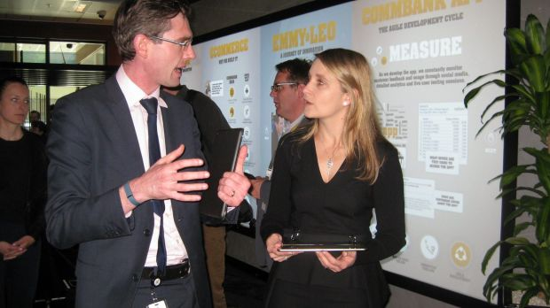 NSW Minister Dominic Perrottet (left) with CBA's Kelly Bayer Rosmarin at the launch of the Innovation Centre on Thursday.