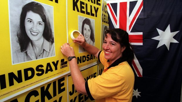 Jackie Kelly was in federal parliament from 1996 to 2007. Here she is in the midst of the 1998 election campaign.
