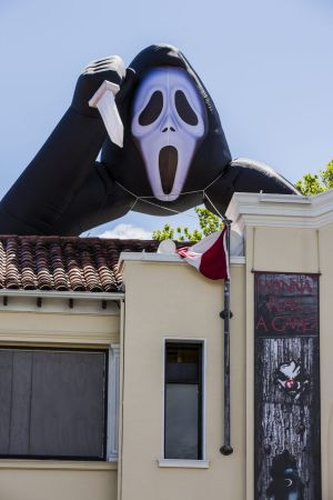 Scary monster: An inflatable Ghostface was installed above Mooseheads this week for Halloween.