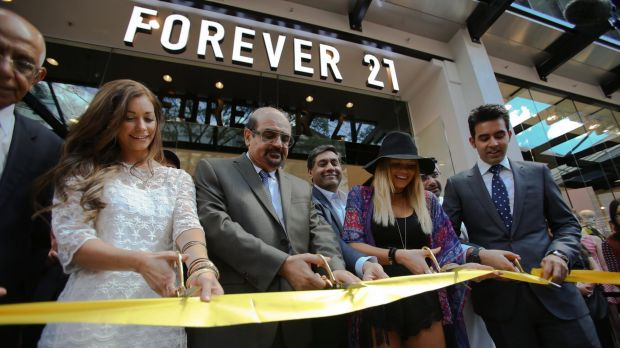 The Bachelor's Lisa Hyde cutting the ribbon on Australia's first Forever 21 store in Brisbane.