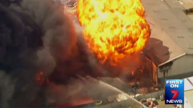 A still image of an explosion during a fire at Sydney factories.