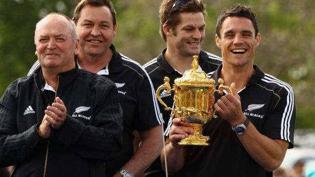 Reign supreme: Former All Blacks coach Graham Henry with current coach Steve Hansen, captain Richie McCaw and Dan Carter.