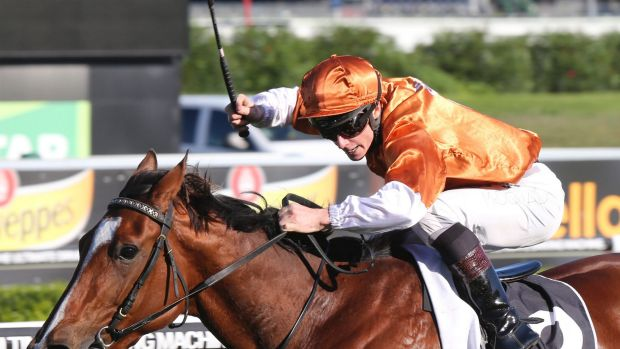 Rising star: James McDonald and Rising Romance take the Australian Oaks over the Caulfield Cup distance of 2400m at ...