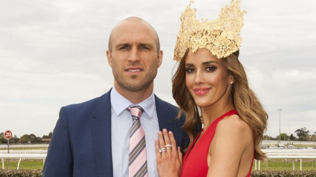 Chris and Rebecca Judd at the Caulfield Cup.