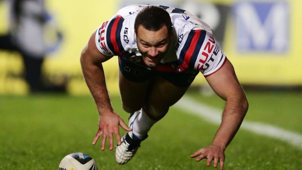 Flat out: Rooster Boyd Cordner felt the effects of a brutal training session.