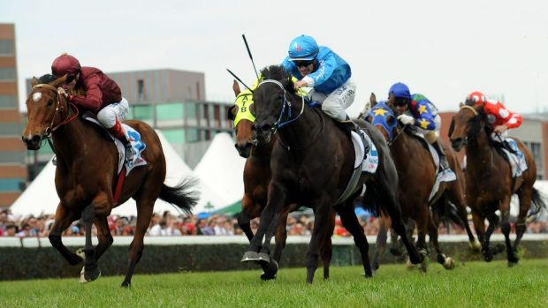 Ladies first: Fontein Ruby (right) holds off Crafty to win the Caulfield Classic on Saturday.