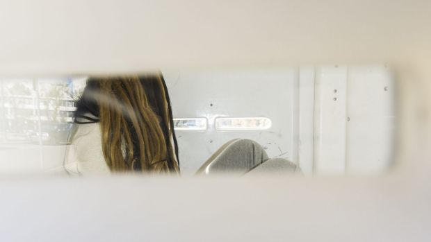 The accused: Gabriela Woutersz arrives at court last year in the back of a police van on Saturday.