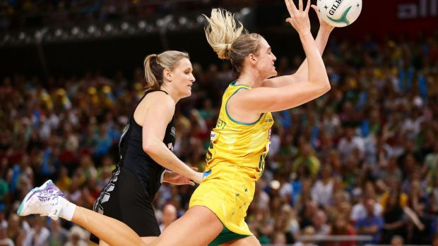 Standout performer: Caitlin Bassett in action against the Silver Ferns last week.