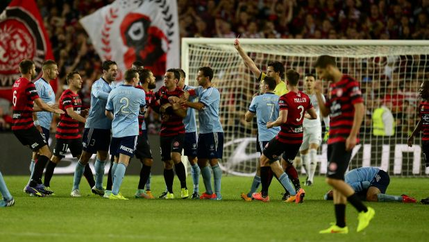 Shoving match: Sydney FC's 3-2 derby win over the Wanderers confirmed  a genuine animosity now exists between the city ...