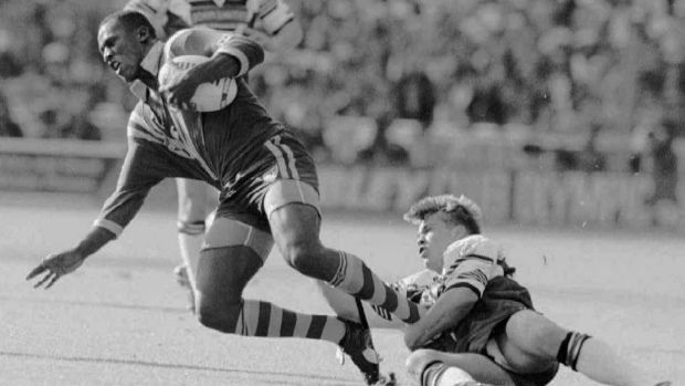 Wendell Sailor is tackled by England's Alan Hunte during the first Test at Wembley in 1994.