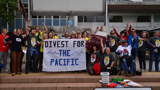 Campaign: About 40 Canberrans protested the big four banks continued investment in fossil fuel projects in Garema Place ...