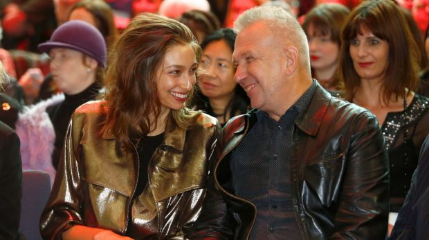 Catching up: Alexandra Agostone with Jean Paul Gaultier at his exhibition at the National Gallery of Victoria.