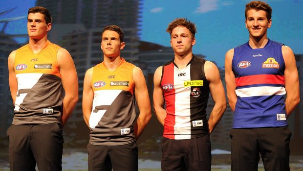 Tom Boyd, Joshua Kelly, Jack Billings and Marcus Bontempelli on draft day in 2013.