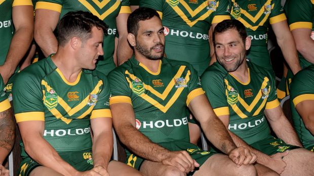 Reunion: Former Storm star Greg Inglis is surrounded by his old clubmates Cooper Cronk and Cameron Smith at the ...